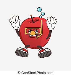 Apple cartoon mascot character wearing Diving glasses