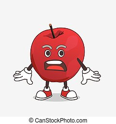Apple cartoon mascot character with a surprised gesture
