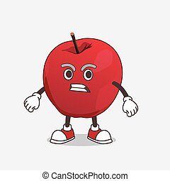 Apple cartoon mascot character with angry face