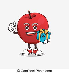 Apple cartoon mascot character with gift