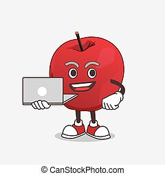 Apple cartoon mascot character working with laptop