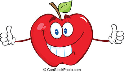Apple Character Giving A Thumbs Up