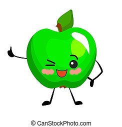 Apple character. Green color. Fruit on a white background isolated..