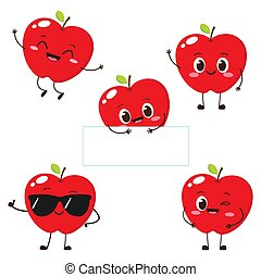 Apple character with funny face