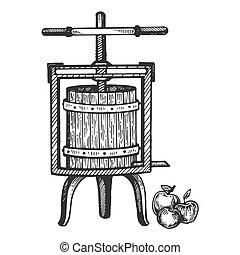 Apple cider juice press engraving vector illustration....