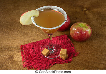 apple cider martini cocktail with apple slice