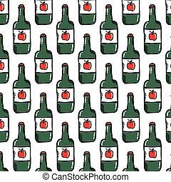 apple cider seamless doodle pattern, vector color illustration