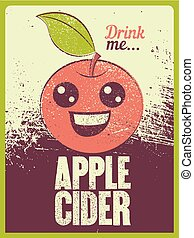 Apple Cider typographical vintage grunge style poster. Retro vector illustration.