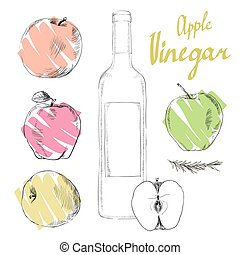 Vector flat apple cider vinegar bottle template vector eps apple cider vinegar malvernweather Gallery