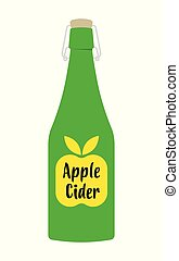 Apple cider vinegar in bottle. isolated on white background,...