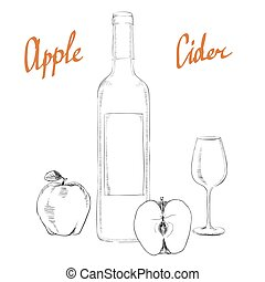 Apple cider vinegar in the bottle vector, outline. A set of...