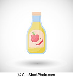 Apple cider vinegar vector flat icon, Flat design of salad...