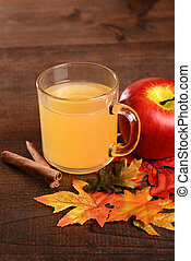 apple cider with cinnamon stick and fall colored leaves