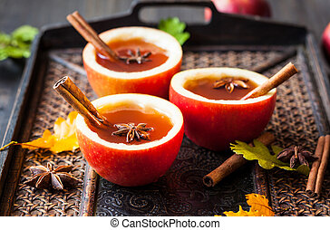 Apple cider with cinnamon sticks and anise star in apple ...