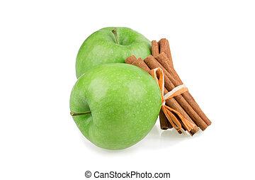 apple, cinnamon isolated on white background