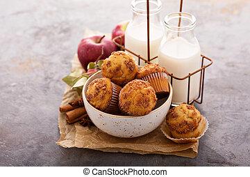 Apple cinnamon streusel muffins with milk bottles