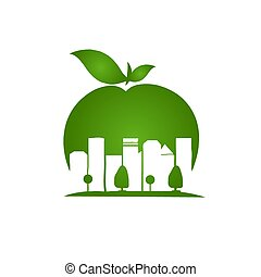 apple city, negative space style image designs