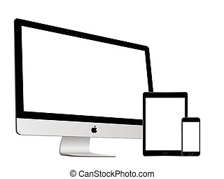 Apple imac and ipad air 2 and iphone 6 on white background