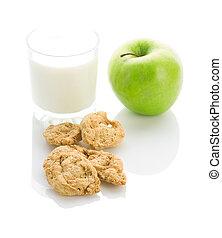 apple cookies and milk