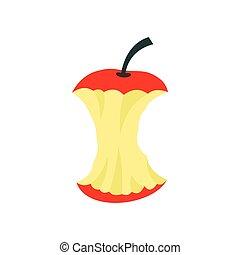 Apple core icon, flat style