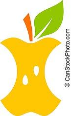 Apple core vector cartoon icon