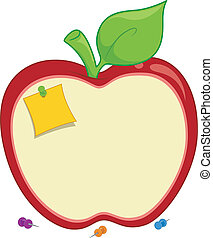 Illustration of an Apple-shaped Corkboard with a Post-it Note Tacked to it
