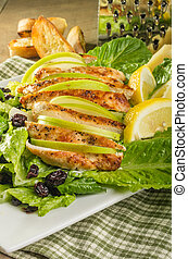 Apple cranberry chicken salad with parmesan dressing