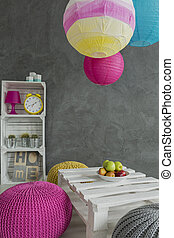Wooden apple crate as furniture in creative interior