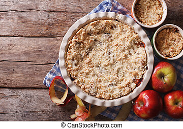 apple crisp closeup in baking dish, horizontal top view -...
