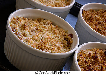 Ramekin Dishes With Individual Sevings Of Apple Crumble/Crisp