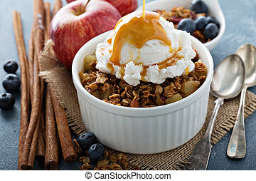 Apple crisp with vanilla ice cream with caramel sauce...