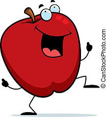 Apple Dancing - A happy cartoon apple dancing and smiling.
