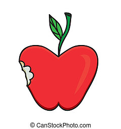 apple drawing over white background vector illustration