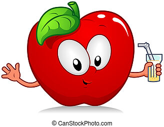 Apple Drink - Illustration of an Apple Character Holding a...