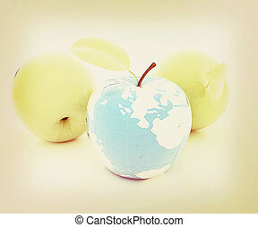 Apple earth and apples . 3D illustration. Vintage style.