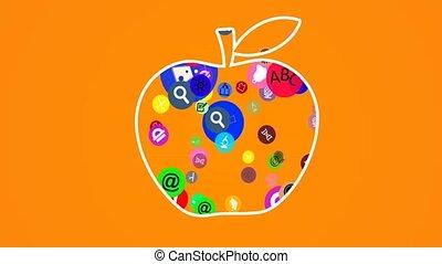 apple., education, fl, icônes