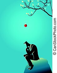 Apple falling dawn to the head of a thinking businessman