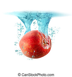 Apple falling into the water