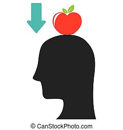 gravity representation icon image - apple falling on head...