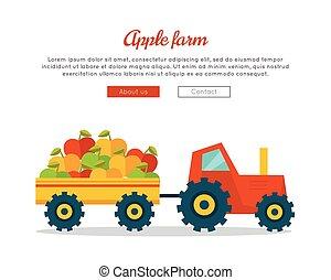 Apple Farm Web Vector Banner in Flat Design.
