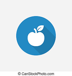 apple Flat Blue Simple Icon with long shadow