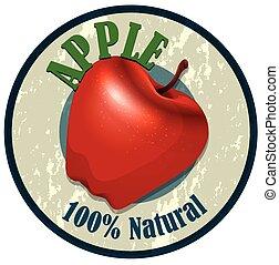 Apple food label on white