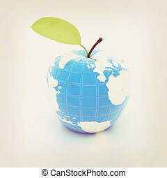 Apple for earth . 3D illustration. Vintage style.