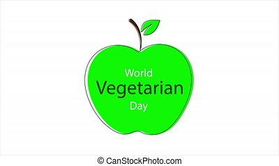 Apple for world vegetarian day, art video illustration.