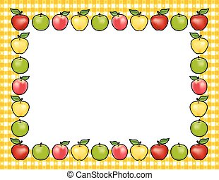 Apple Frame, Gold Gingham Border