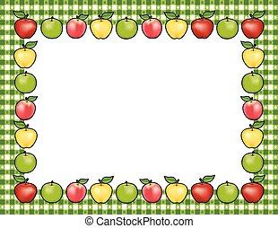 Apple Frame, Green Gingham Border