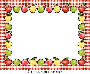 Apple Frame, Red Gingham Border