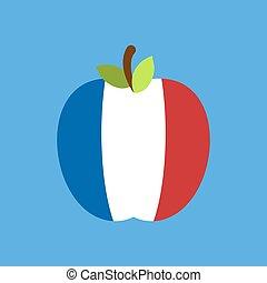 Apple France flag. French National Fruit. Vector illustration