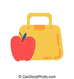apple fresh fruit with schoolbag