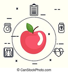 apple fresh with fitness icons
